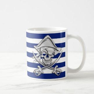 Silver Pirate on Nautical Stripes Coffee Mug
