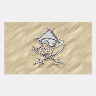 Silver Pirate Skull in the Sand Decor Rectangular Sticker