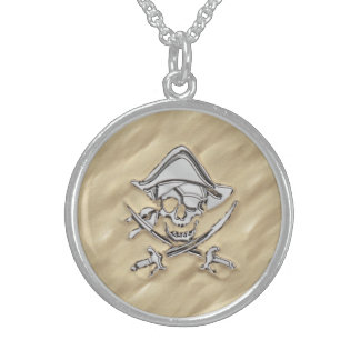 Silver Pirate Skull in the Sand Decor Sterling Silver Necklace