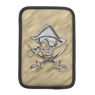 Silver Pirate Skull in the Sand iPad Mini Sleeves