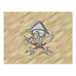 Silver Pirate Skull in the Sand Postcard