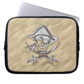 Silver Pirate Skull in the Sand Scene Laptop Computer Sleeves