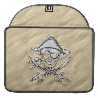 Silver Pirate Skull in the Sand Scene Sleeve For MacBooks