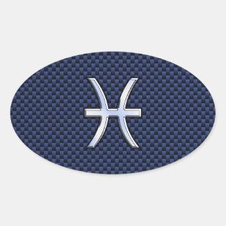 Silver Pisces Zodiac Sign Blue Carbon Fiber Print Oval Sticker