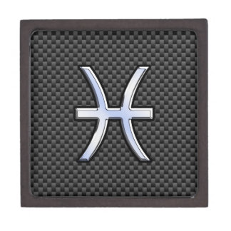 Silver Pisces Zodiac Sign on Carbon Fiber Print Gift Box
