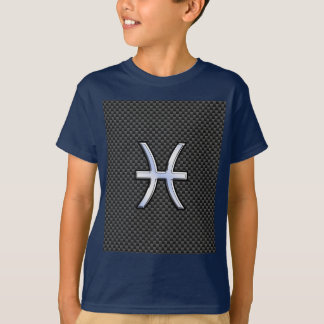 Silver Pisces Zodiac Sign on Carbon Fiber Print T-Shirt
