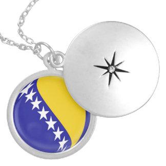 """Silver plate Locket +18"""" chain Bosnia flag"""