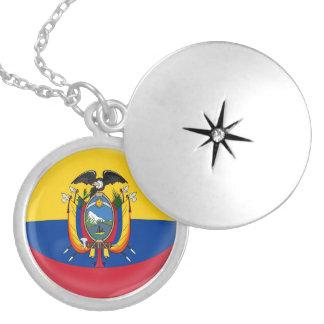 """Silver plate Locket +18"""" chain Ecuador flag"""