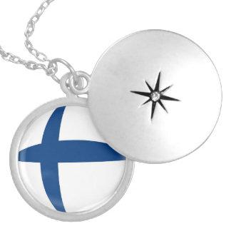 "Silver plate Locket +18"" chain Finland flag"