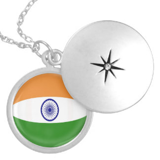 "Silver plate Locket +18"" chain India flag"