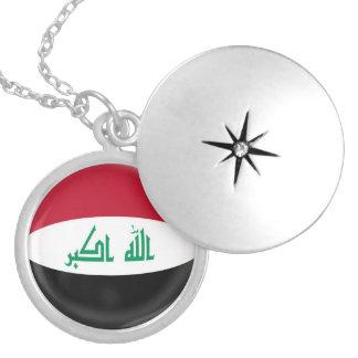 "Silver plate Locket +18"" chain Iraq flag"