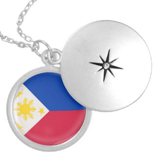 Silver plate Locket +18 chain Philippines flag