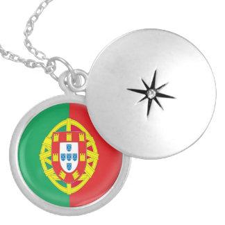 "Silver plate Locket +18"" chain Portugal flag"
