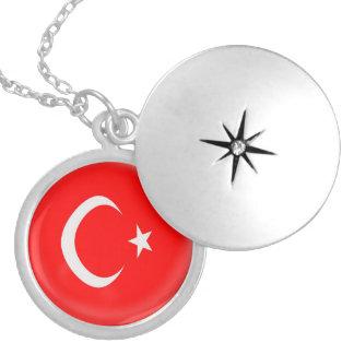 "Silver plate Locket +18"" chain Turkey flag"