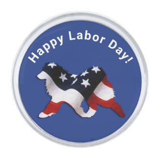 Silver Plate Samoyed Labor Day Lapel Pin