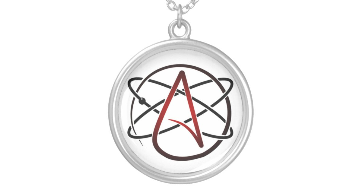 Silver plated atheist necklace zazzle aloadofball Choice Image