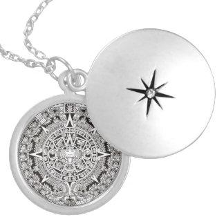 Silver Plated Mayan Calendar Locket Necklace