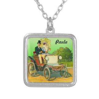 Silver Plated Necklace w. Vintage Image & Name