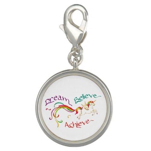 Silver Plated Round Charm - Dream Believe Achieve