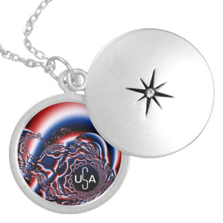 Silver plated USA Locket