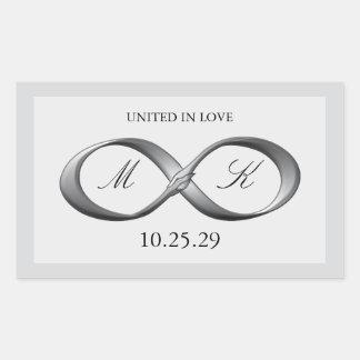 Silver Platinum Infinity Hand Clasp Wedding Favor Rectangular Sticker