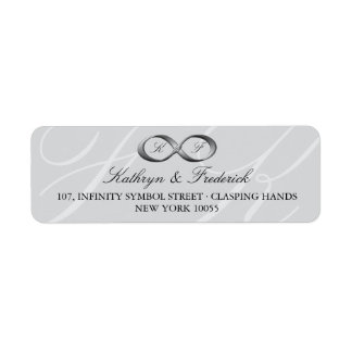 Silver Platinum Infinity Hand Clasp Wedding Labels