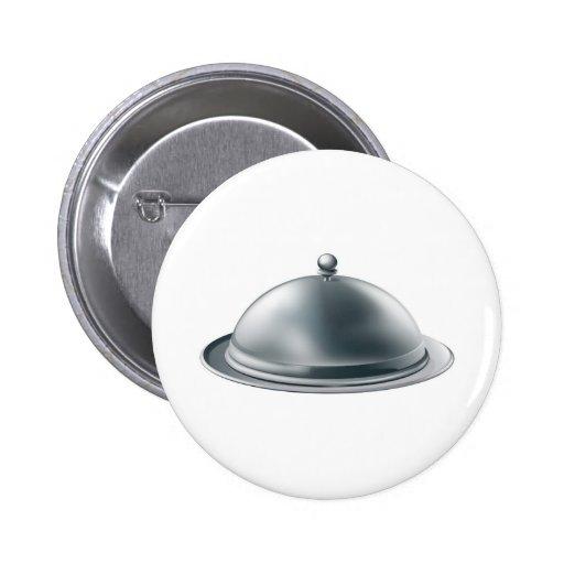 Silver platter illustration pinback buttons