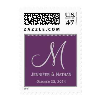 SILVER & PLUM Names Monogram Date Wedding Postage
