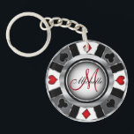 "Silver Poker Chip Design - Monogram Keychain<br><div class=""desc"">Monogram Silver Poker Chip Design. 100% Customizable. Ready to Fill in the box(es) or Click on the CUSTOMIZE button to add, move, delete or change any of the text or graphics. Made with high resolution vector and/or digital graphics for a professional print. NOTE: (THIS IS A PRINT. All zazzle product...</div>"