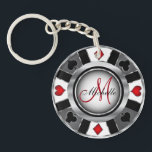 """Silver Poker Chip Design - Monogram Keychain<br><div class=""""desc"""">Monogram Silver Poker Chip Design. 100% Customizable. Ready to Fill in the box(es) or Click on the CUSTOMIZE button to add, move, delete or change any of the text or graphics. Made with high resolution vector and/or digital graphics for a professional print. NOTE: (THIS IS A PRINT. All zazzle product...</div>"""