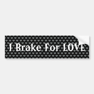 Silver Polka Dot Hearts Black Background Bumper Stickers