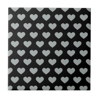 Silver Polka Dot Hearts (Black Background) Tile