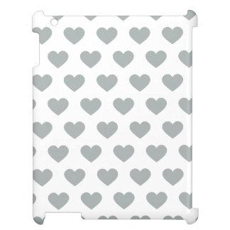 Silver Polka Dot Hearts iPad Case