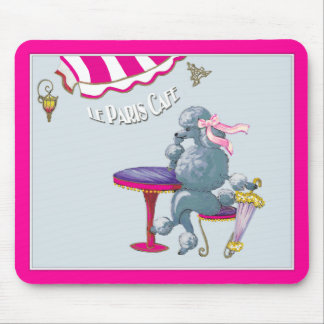 Silver Poodle in Paris Cafe Gifts ... - Customized Mouse Pad