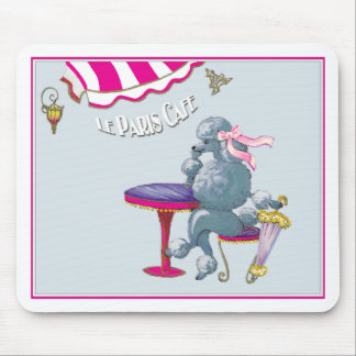 Silver Poodle in Paris Cafe Gifts for the family Mouse Pad