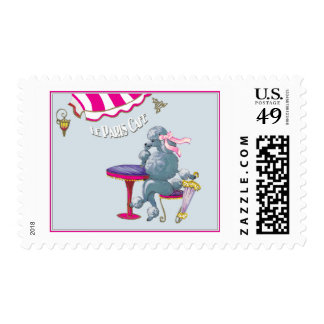Silver Poodle in Paris Cafe Postage Stamp