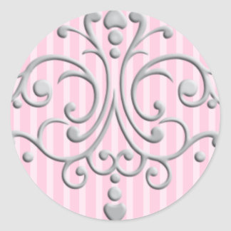 Silver Princess Filigree Classic Round Sticker