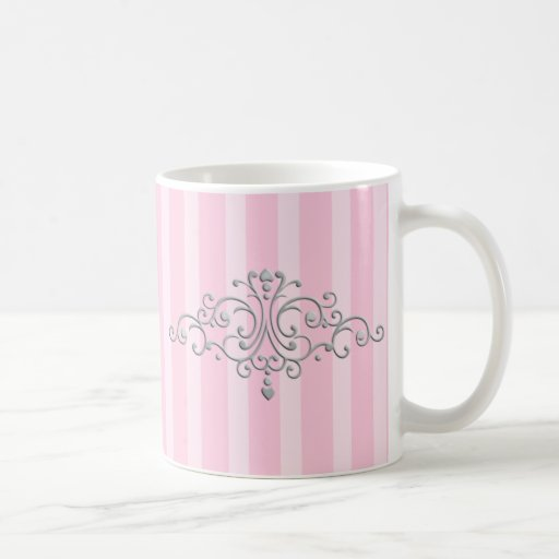 Silver Princess Filigree Classic White Coffee Mug
