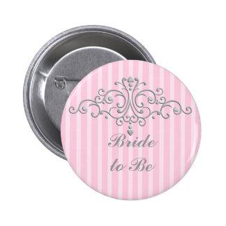 Silver Princess Filigree Pinback Button