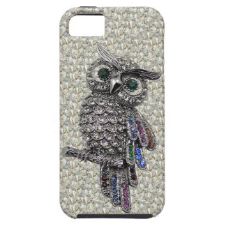 Silver Printed Image Owl & Jewels on Diamonds iPhone 5 Covers