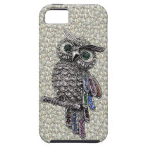 Silver Printed Image Owl & Jewels on Diamonds iPhone SE/5/5s Case