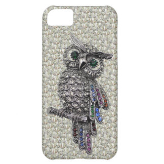 Silver Printed Owl & Jewels on Diamonds iPhone 5C Covers