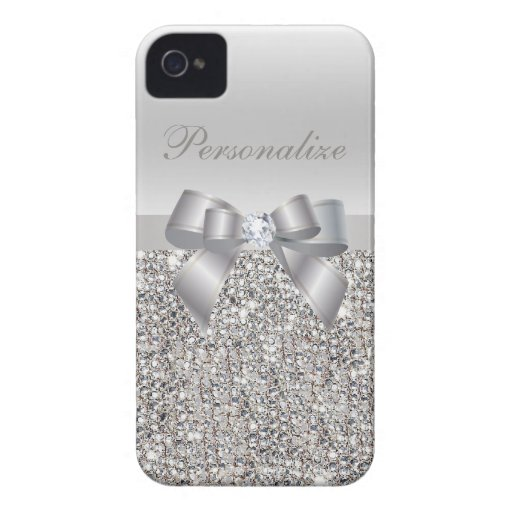 Silver Printed Sequins, Bow & Diamond Case-Mate iPhone 4 Cases