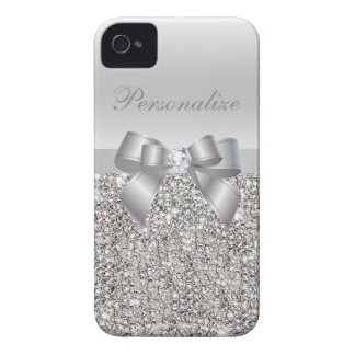 Silver Printed Sequins, Bow & Diamond iPhone 4 Case