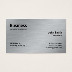 Silver Professional Elegant Metal Modern Plain Business Card at Zazzle