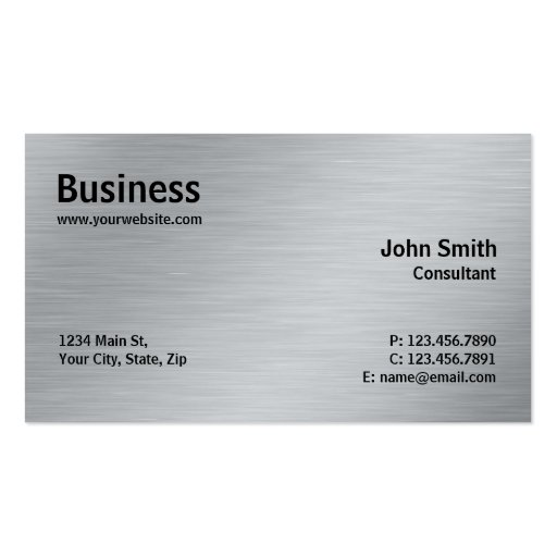 Silver Professional Elegant Metal Modern Plain Business Card Template