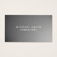 Silver Professional Metal Elegant Modern Plain Business Card at Zazzle