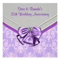 Silver Purple 25th Wedding Anniversary Party Custom Invites