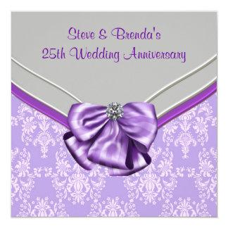 """Silver Purple 25th Wedding Anniversary Party 5.25"""" Square Invitation Card"""