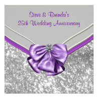 Silver Purple 25th Wedding Anniversary Party Invites